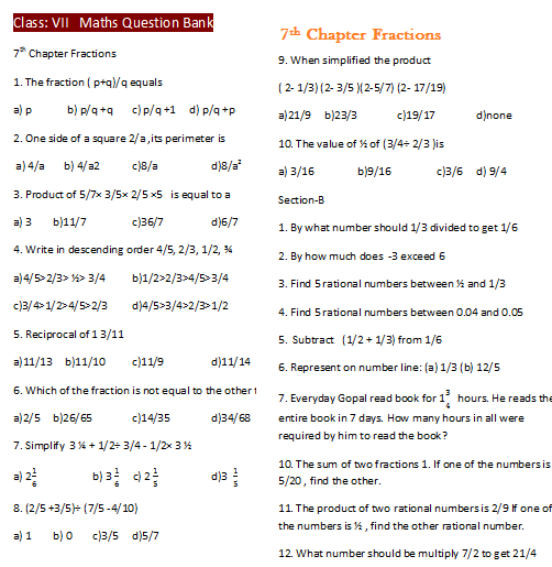VII CBSE Chapter Fractions JSUNIL TUTORIAL CBSE MATHS SCIENCE – Grade 7 Math Integers Worksheets