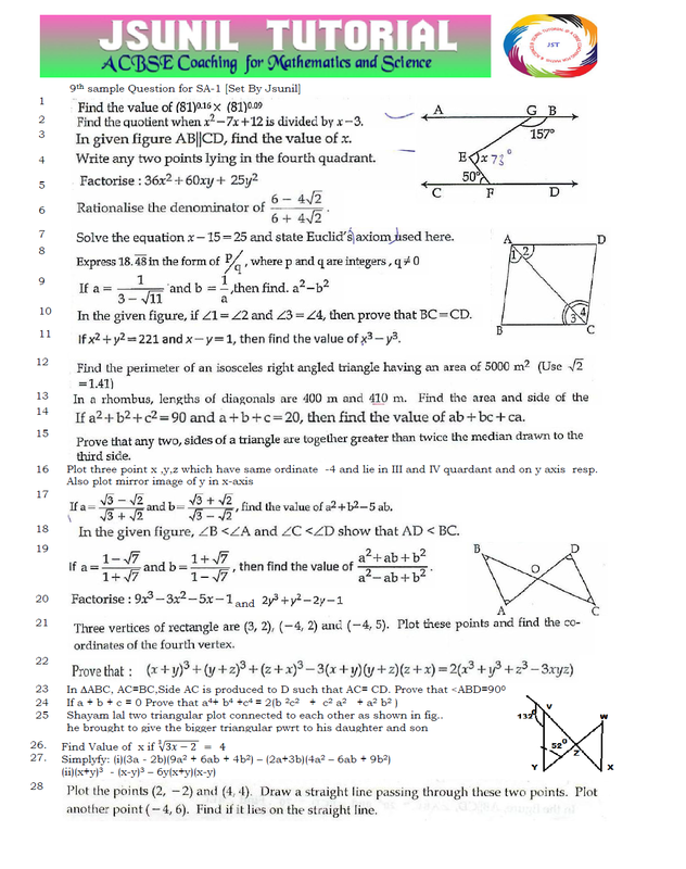 Sample Question Papers for Class IX and X - CBSE