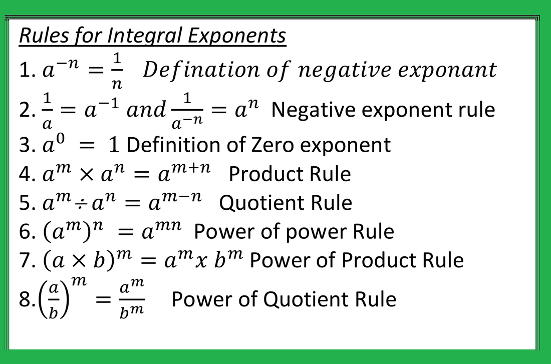 Exponent and Power - JSUNIL TUTORIAL CBSE MATHS & SCIENCE